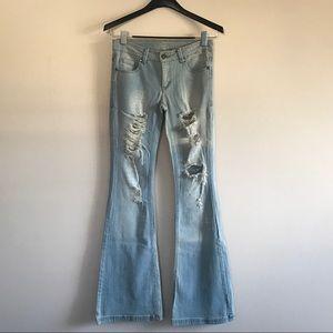 Denim - Distress Flare Denim Jeans